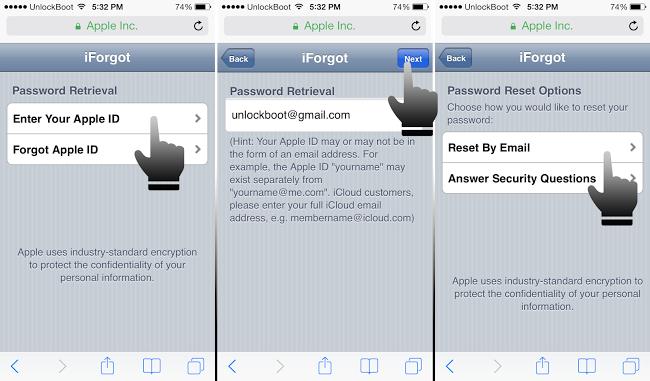 apple iphone reset icloud password