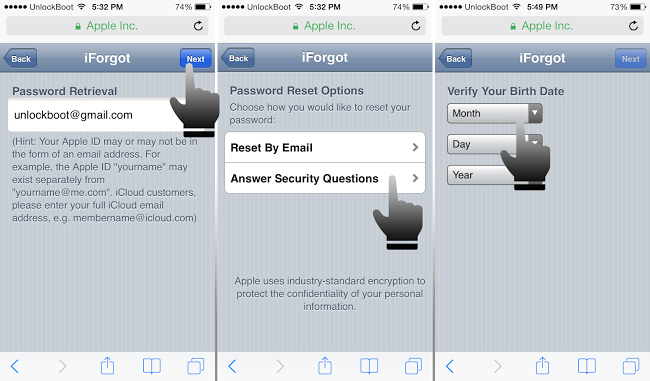forgot icloud password and recovery email